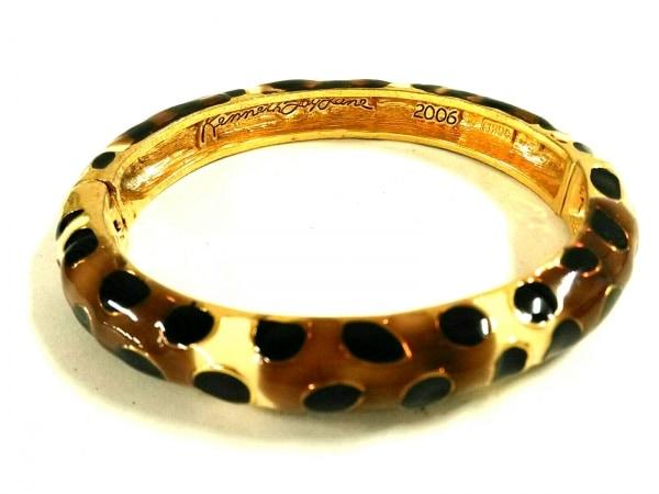 ケネスジェイレーン バングル美品  金属素材 ダークブラウン×アイボリー×黒 豹柄