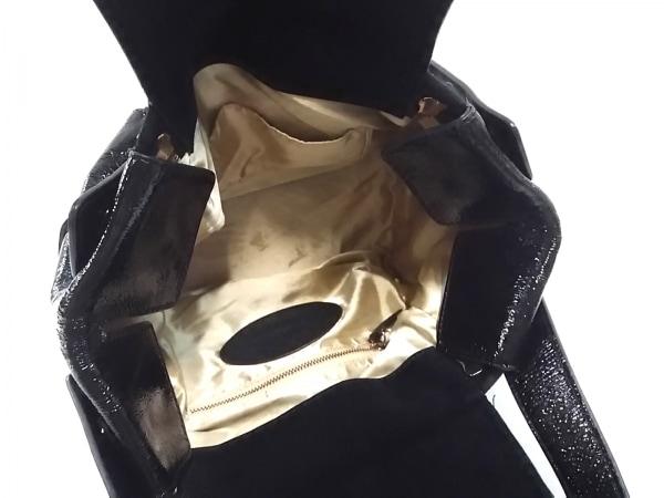 HASHIBAMI(ハシバミ) ハンドバッグ 黒 スエード×エナメル(レザー)