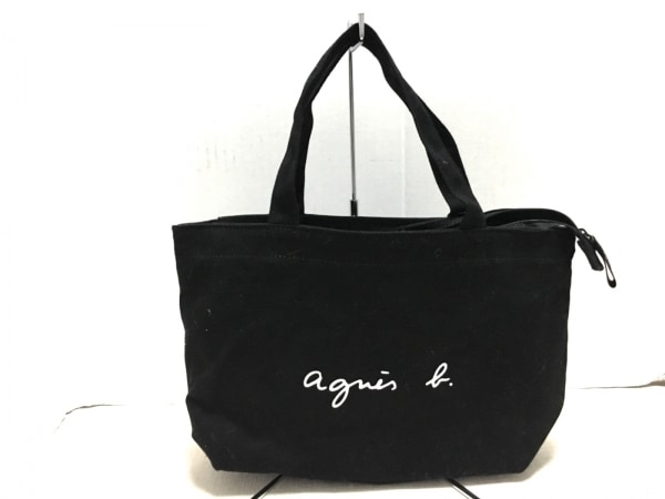agnes b(アニエスベー) ハンドバッグ 黒×白 VOYAGE キャンバス