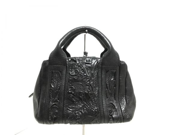 カービングトライブス ハンドバッグ美品  黒 型押し加工/ミニサイズ レザー