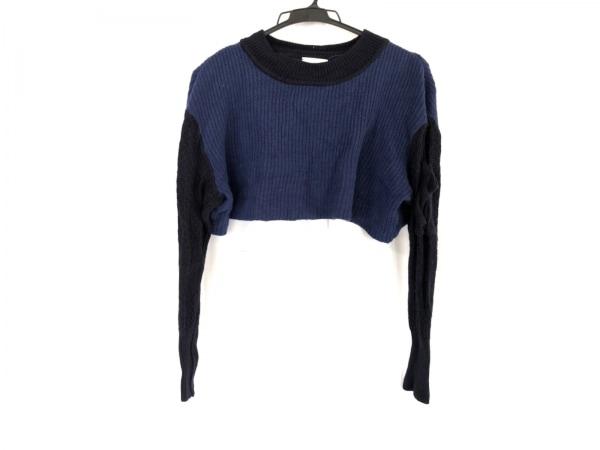 mame(マメ) 長袖セーター サイズ1 S レディース ネイビー×ダークネイビー ショート丈