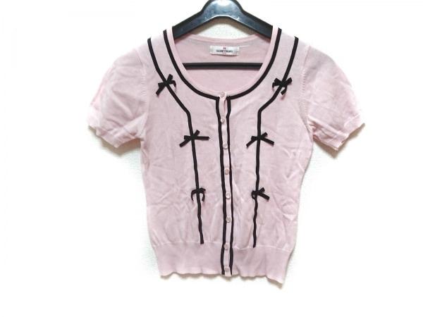 ギャラリービスコンティ カーディガン サイズ2 M レディース ピンク×黒 半袖/リボン