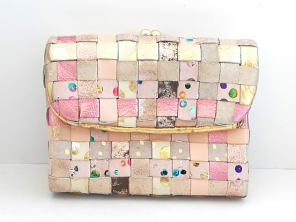 ツモリチサト 3つ折り財布 アイボリー×ピンク×マルチ ドット柄/がま口 レザー