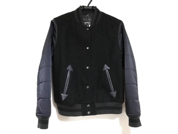 ジーヴィジーヴィ ブルゾン サイズM レディース美品  黒×ネイビー 冬物/ユニクロ