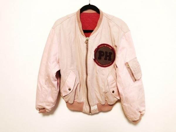 ピンクハウス ブルゾン レディース美品  ピンク×マルチ ジップアップ/ワッペン/冬物