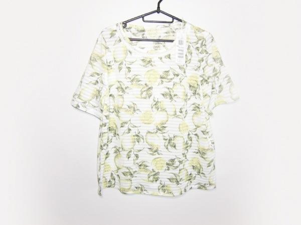 レリアン 半袖Tシャツ サイズ13+ S レディース美品  白×ライトグリーン×マルチ