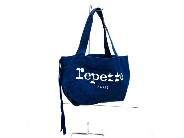 repetto(レペット) トートバッグ ブルー×白 キャンバス