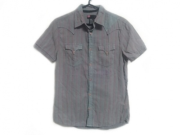 ディーゼル 半袖シャツ サイズS メンズ グレー×レッド×ライトブルー ストライプ