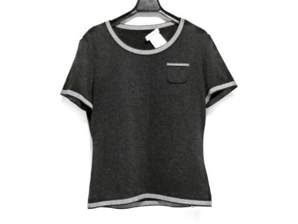 ジバンシー 半袖セーター サイズ42 L レディース 黒×白 BOUTIQUES/トリム/胸ポケ