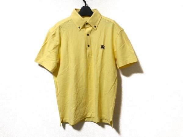 バーバリーブラックレーベル 半袖ポロシャツ サイズ3 L メンズ美品  イエロー