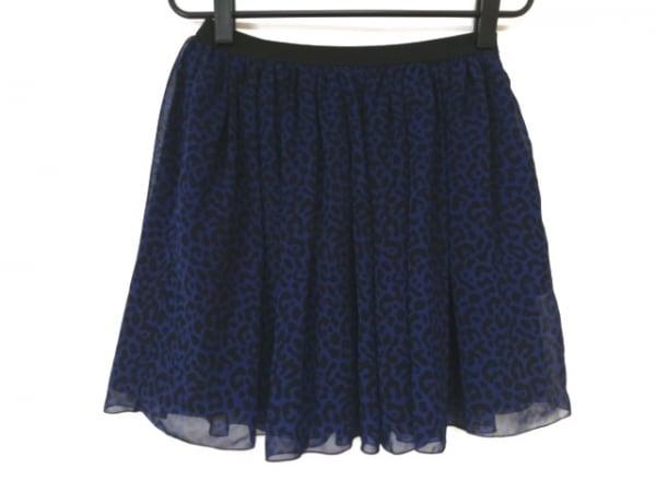シーニューヨーク ミニスカート サイズ0 XS レディース美品  ブルー×黒 豹柄