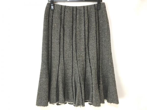 EPOCA(エポカ) スカート サイズ40 M レディース美品  黒×グレー×マルチ