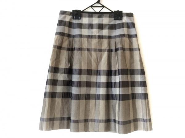 バーバリーロンドン スカート サイズ40 L レディース美品  グレー×アイボリー×黒