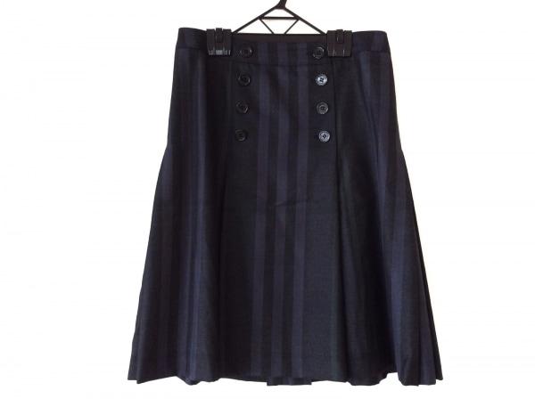 バーバリーロンドン スカート サイズ40 L レディース美品  ネイビー×カーキ