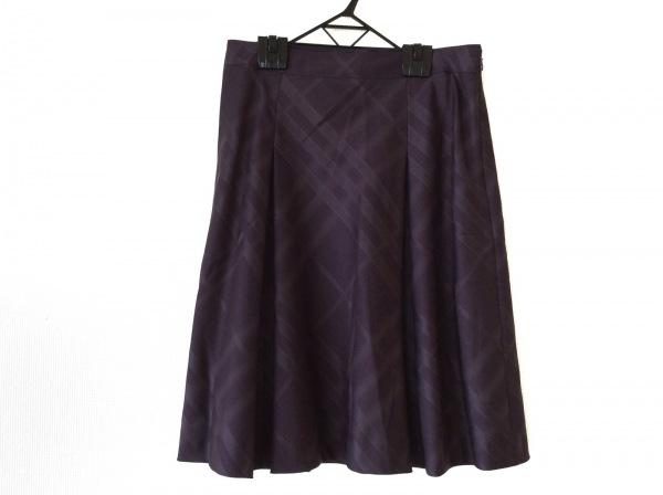 バーバリーロンドン スカート サイズ40 L レディース美品  ボルドー 千鳥格子