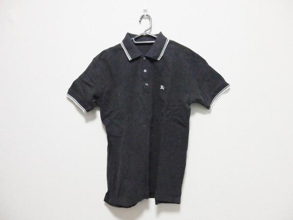 バーバリーブラックレーベル 半袖ポロシャツ サイズ2 M メンズ ダークグレー×白