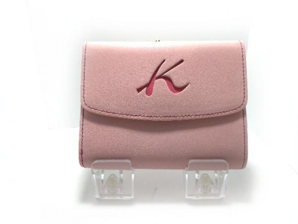 KITAMURA(キタムラ) 3つ折り財布 ピンク がま口 レザー