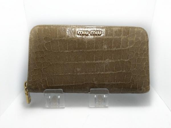 miumiu(ミュウミュウ) 長財布 - 5M0506 ベージュ ラウンドファスナー/型押し加工
