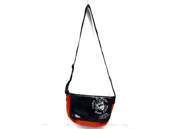 シナコバ ショルダーバッグ美品  黒×オレンジ LUPO DI MARE コーティングキャンバス