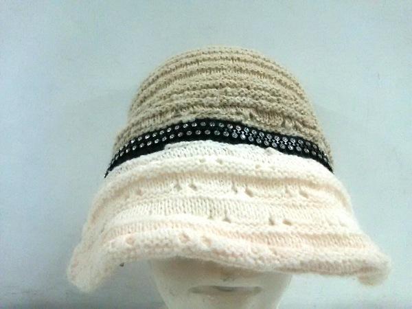CA4LA(カシラ) ニット帽美品  ベージュ×アイボリー×黒 ツバ取りはずし可