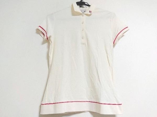 MONCLER(モンクレール) 半袖ポロシャツ サイズL レディース美品  アイボリー×レッド