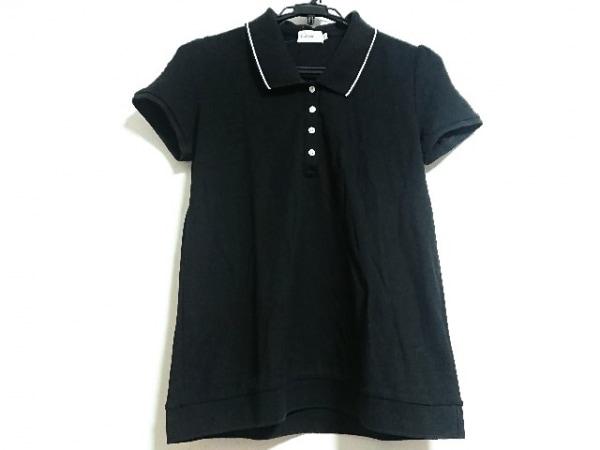 MONCLER(モンクレール) 半袖ポロシャツ サイズL レディース 黒×アイボリー