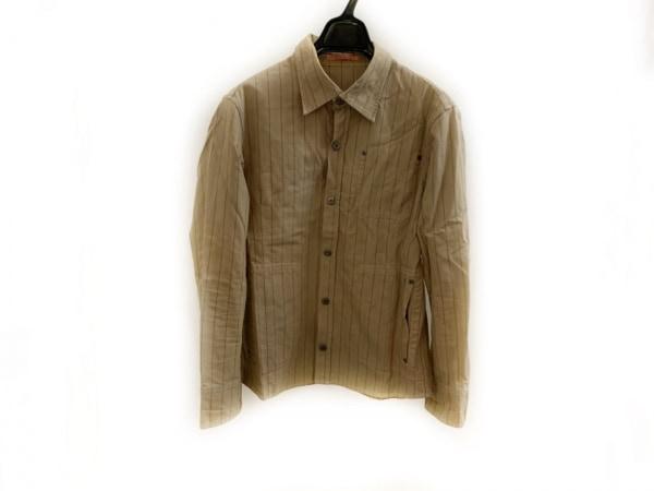 ムッシュニコル ジャケット サイズ46 XL メンズ ベージュ×黒×オレンジ ストライプ