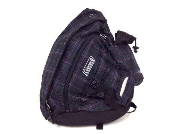 コールマン ワンショルダーバッグ 黒×ライトブルー×ピンク チェック柄 ナイロン