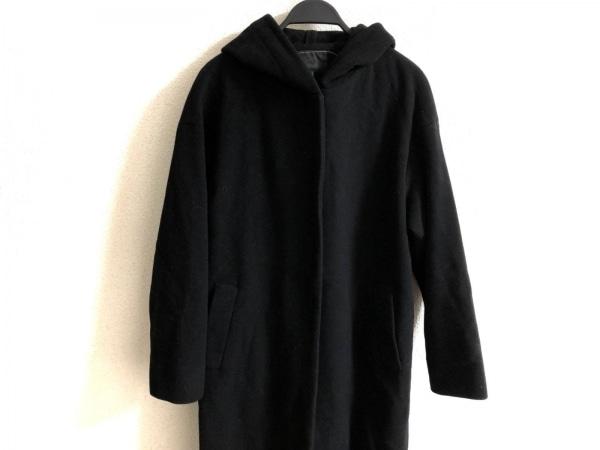 ICB(アイシービー) コート サイズ7 S レディース 黒 フード付き/カシミヤ混/春・秋物