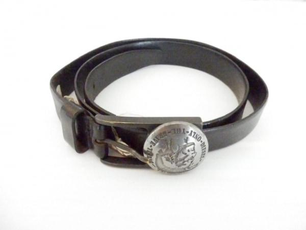 DIESEL(ディーゼル) ベルト 100 黒×シルバー レザー×金属素材