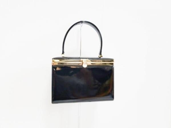 ユナイテッドアローズ バニティバッグ 黒×ゴールド エナメル(合皮)×金属素材