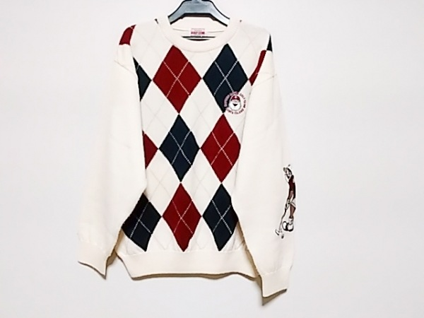 キャプテンサンタ 長袖セーター メンズ 白×ネイビー×レッド golfclub
