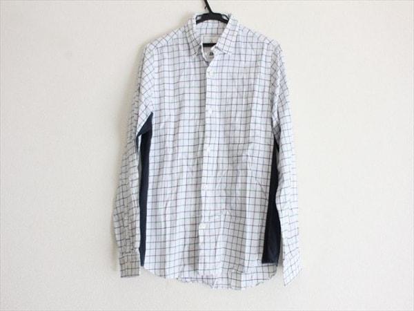 ブラックアンドブルー 長袖シャツ サイズ2 M メンズ 白×ダークネイビー×グリーン