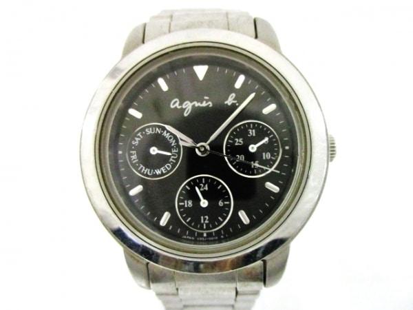 agnes b(アニエスベー) 腕時計 V33J-0010 レディース トリプルカレンダー 黒
