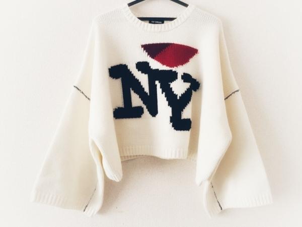 ラフシモンズ 長袖セーター サイズM レディース美品  アイボリー×レッド×黒