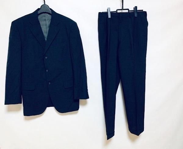 DURBAN(ダーバン) シングルスーツ メンズ美品  黒×ダークグレー 肩パッド/ストライプ
