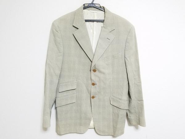 ARNYS(アルニス) ジャケット サイズ50 メンズ ライトグレー×ベージュ チェック柄