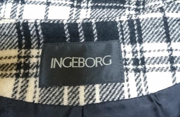 INGEBORG(インゲボルグ) ジャケット サイズL レディース アイボリー×黒 チェック柄