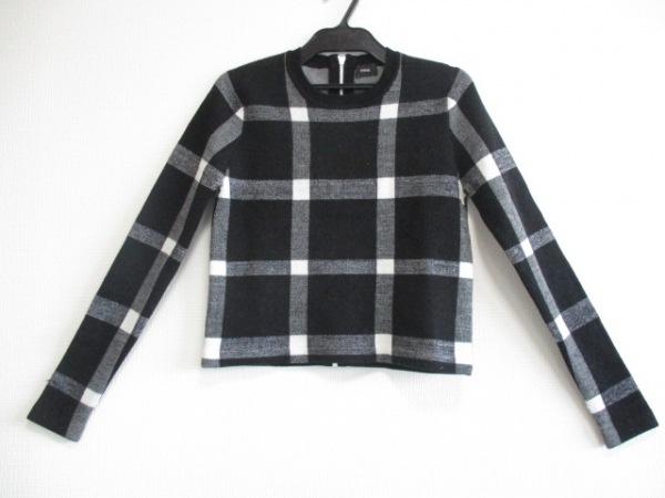 NINE(ナイン) 長袖セーター サイズF レディース美品  黒×アイボリー チェック柄