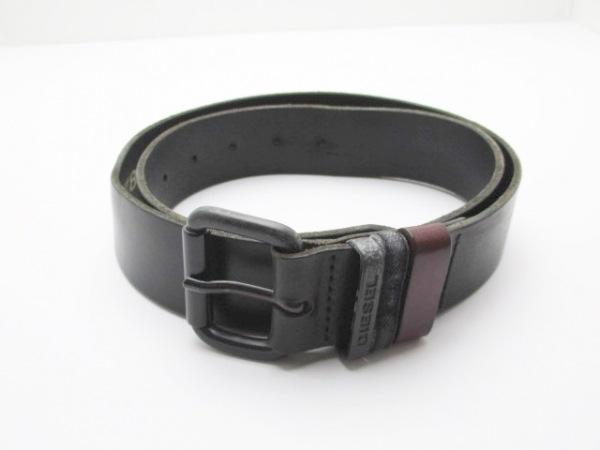 DIESEL(ディーゼル) ベルト 90/36 黒×ダークブラウン レザー×金属素材