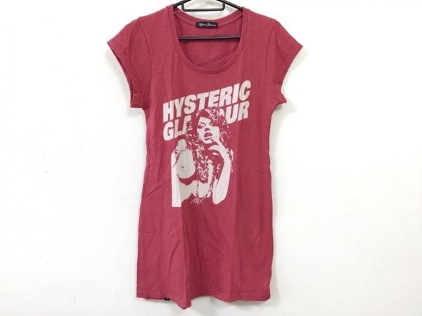ヒステリックグラマー 半袖Tシャツ サイズF レディース レッド×アイボリー ロング丈