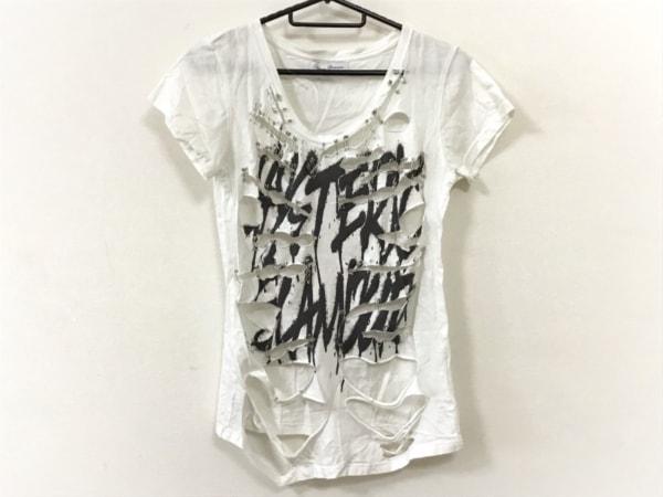 ヒステリックグラマー 半袖Tシャツ サイズF レディース 白×黒 ダメージ加工/ピン