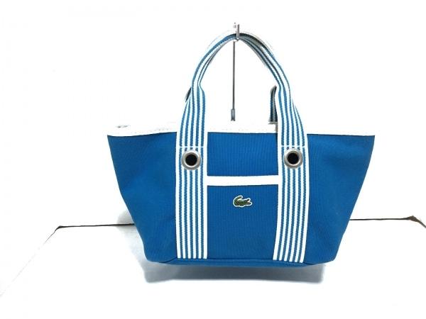 Lacoste(ラコステ) ハンドバッグ ライトブルー×白 ストライプ キャンバス