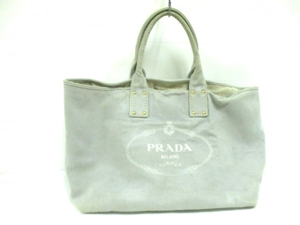 8f60e1d03f62 PRADA(プラダ) トートバッグ CANAPA グレー×白 デニムの中古 | PRADA ...