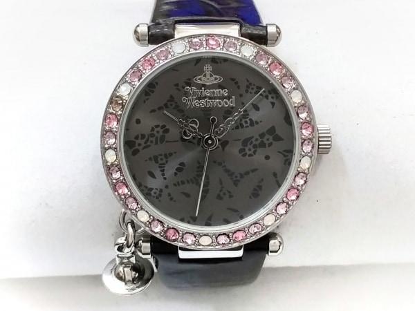 ヴィヴィアン 腕時計美品  VV006GYBK レディース 革ベルト/ラインストーンベゼル