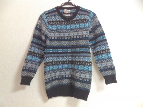 Jamieson's(ジャミーソンズ) 長袖セーター メンズ 黒×マルチ