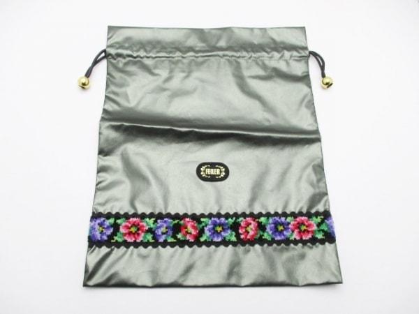 FEILER(フェイラー) ポーチ美品  ダークグレー×黒×マルチ 花柄 合皮×パイル