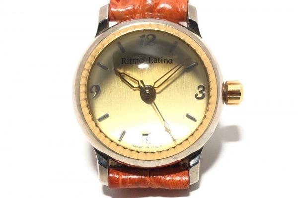 リトモラティーノ 腕時計 - レディース ドーム型風防/クロコダイルベルト ゴールド