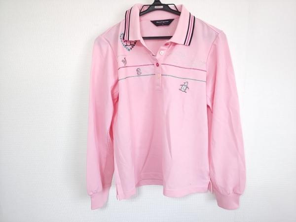 マンシングウェア 長袖ポロシャツ サイズL レディース美品  ピンク×マルチ