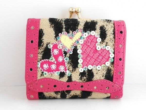 シンクビー 3つ折り財布 ベージュ×黒×ピンク がま口/豹柄/ハート/スパンコール